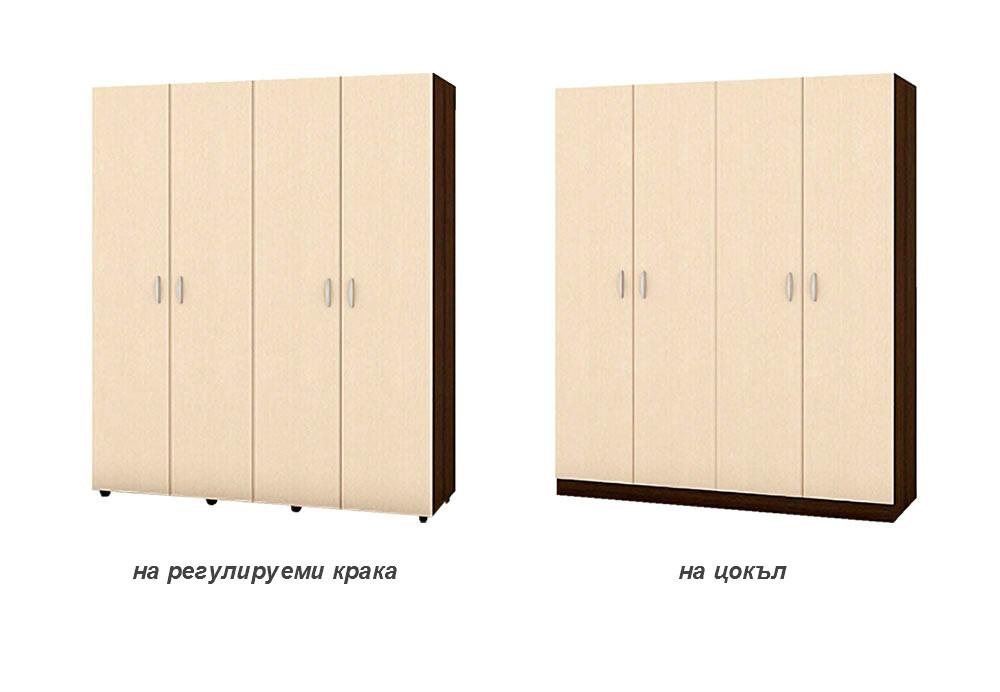 Четирикрилен гардероб с 3 бр рафт и 2 бр лост за дрехи