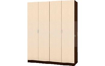 Четирикрилен гардероб с отварящи се едновременно врати хармоника