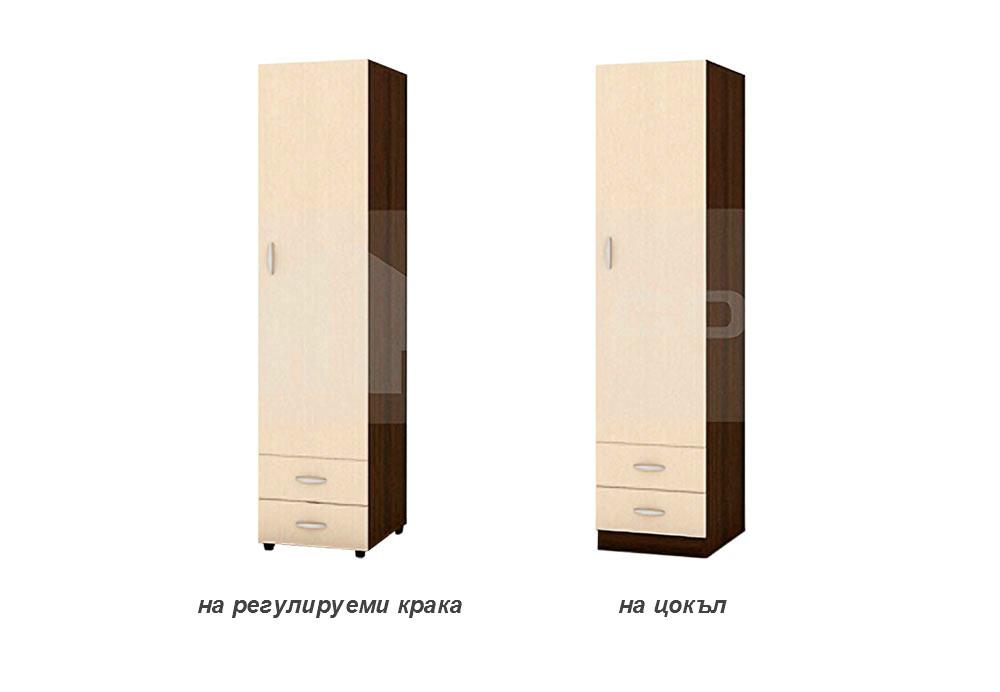 Еднокрилен гардероб с две чекмеджета