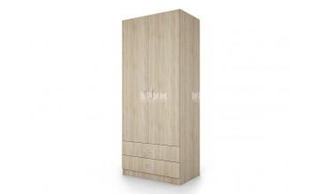 Двукрилен гардероб City 1008 с две чекмеджета, рафтове и лост за дрехи
