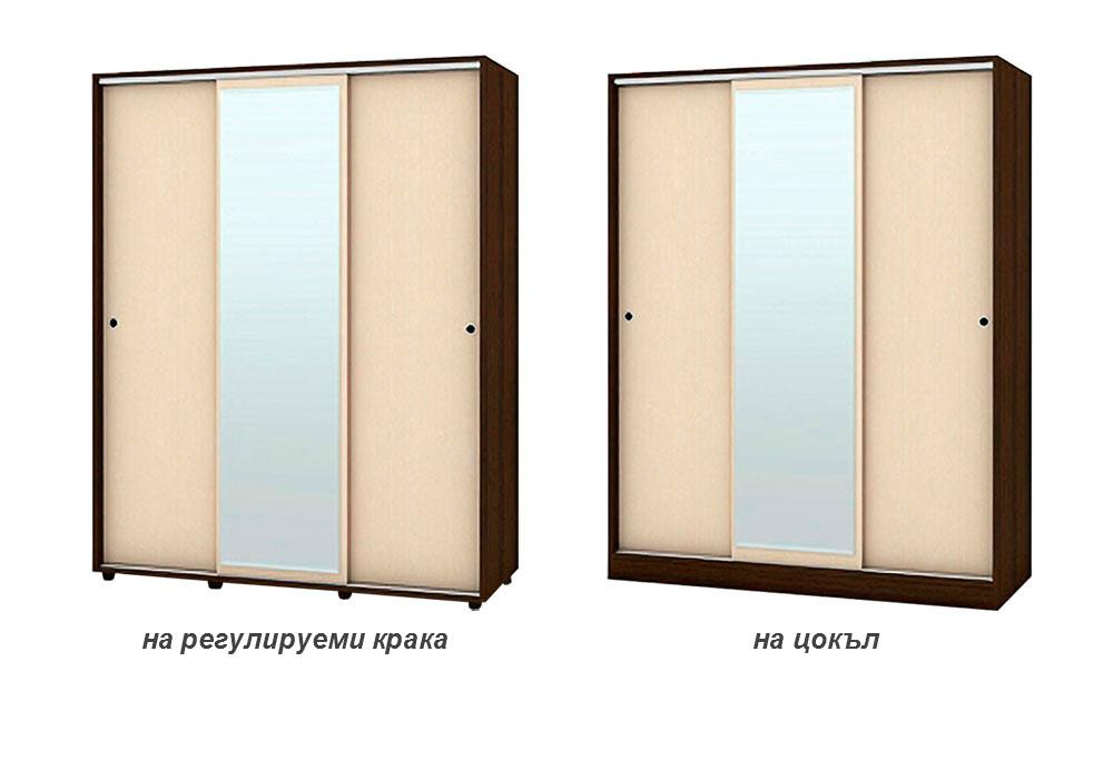 Трикрилен гардероб с плъзгащи врати