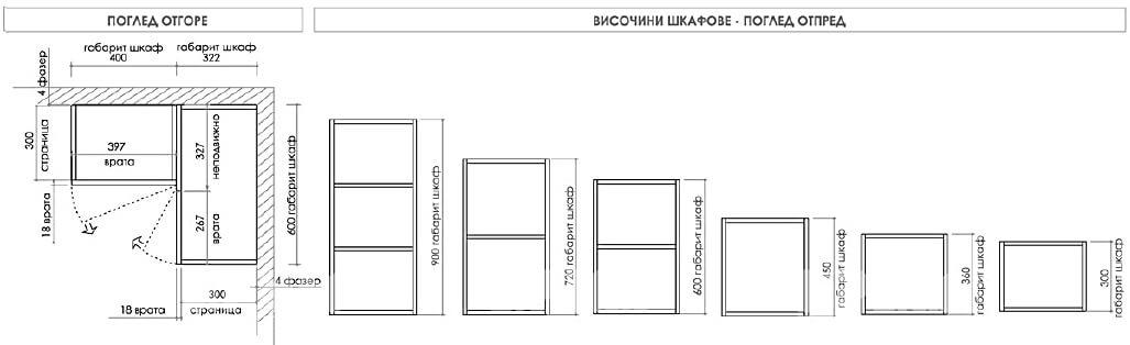 Размери и изглед на горен ред шкафове в зависимост от височината им