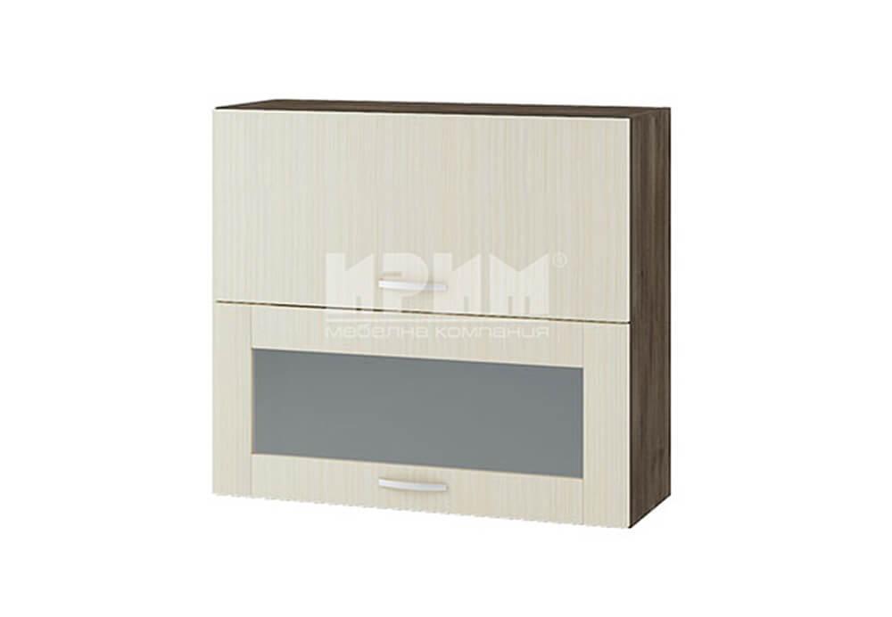Горен кухненски шкаф с повдигащи врата и витрина с четири фриза G126