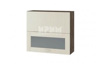Горен кухненски шкаф с повдигаща се врата и витрина с четири фриза и механизъм Blum Aventos HF G127