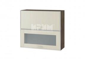 Горен кухненски шкаф с повдигащи врата и витрина с алуминиев кант G129