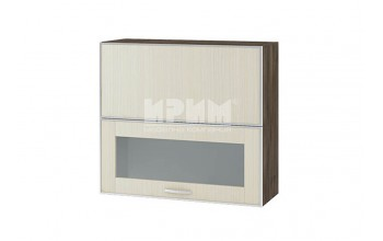 Горен кухненски шкаф с повдигащи се врата и витрина с алуминиев кант, механизъм Blum Aventos HF и отцедник за чинии и чаши G131