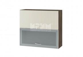 Горен кухненски шкаф с повдигащи витрина с алуминиев профил и врата G132