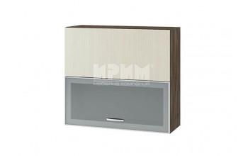 Горен кухненски шкаф с повдигащи се витрина с алуминиев профил и врата, механизъм Blum Aventos HF G133