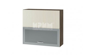 Горен кухненски шкаф с повдигащи се витрина с алуминиев профил и врата, механизъм Blum Aventos HF и отцедник за чинии и чаши G134