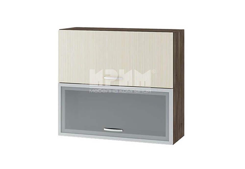 Горен кухненски шкаф с повдигащи витрина с МДФ профил и врата G135