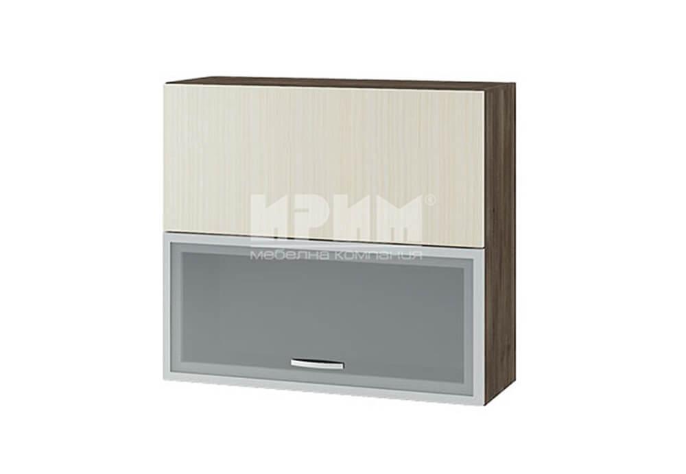 Горен кухненски шкаф с повдигащи витрина с МДФ профил и врата с механизъм Blum Aventos HF G136