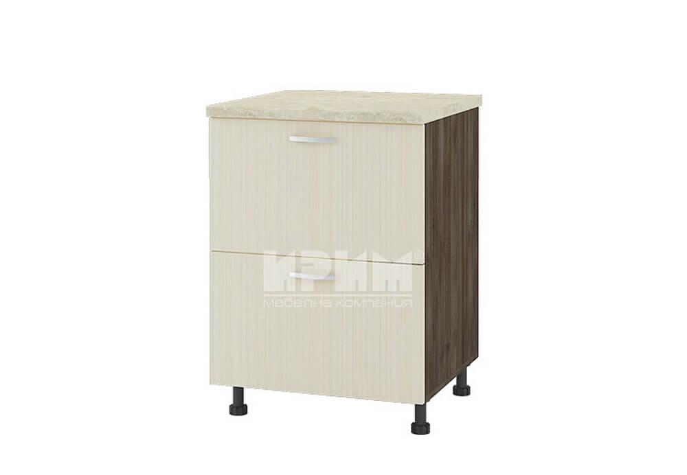 Долен кухненски шкаф с две чекмеджета и изтеглящ термоплот D308