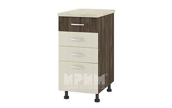 Долен кухненски шкаф с три плитки и едно дълбоко чекмедже D316