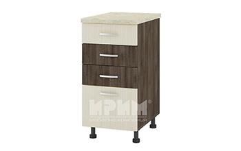 Долен кухненски шкаф с три плитки и едно дълбоко чекмедже D317