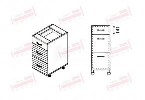 Долен кухненски шкаф с едно плитко и две дълбоки чекмеджета D319