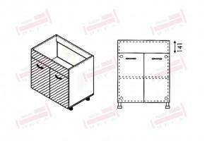 Долен кухненски шкаф за мивка с две врати и неподвижна част 141 мм D323
