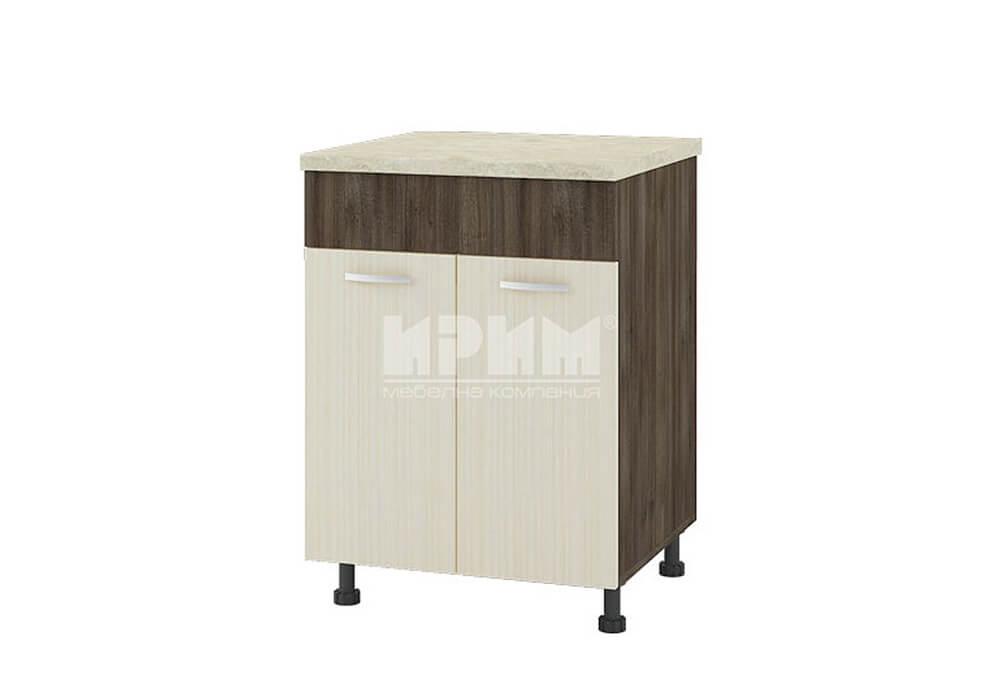 Долен кухненски шкаф за мивка с две врати и неподвижна част 141 мм D324