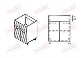 Долен кухненски шкаф за мивка с две врати и неподвижна част 177 мм D325