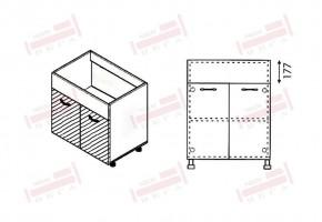 Долен кухненски шкаф за мивка с две врати и неподвижна част 177 мм D326