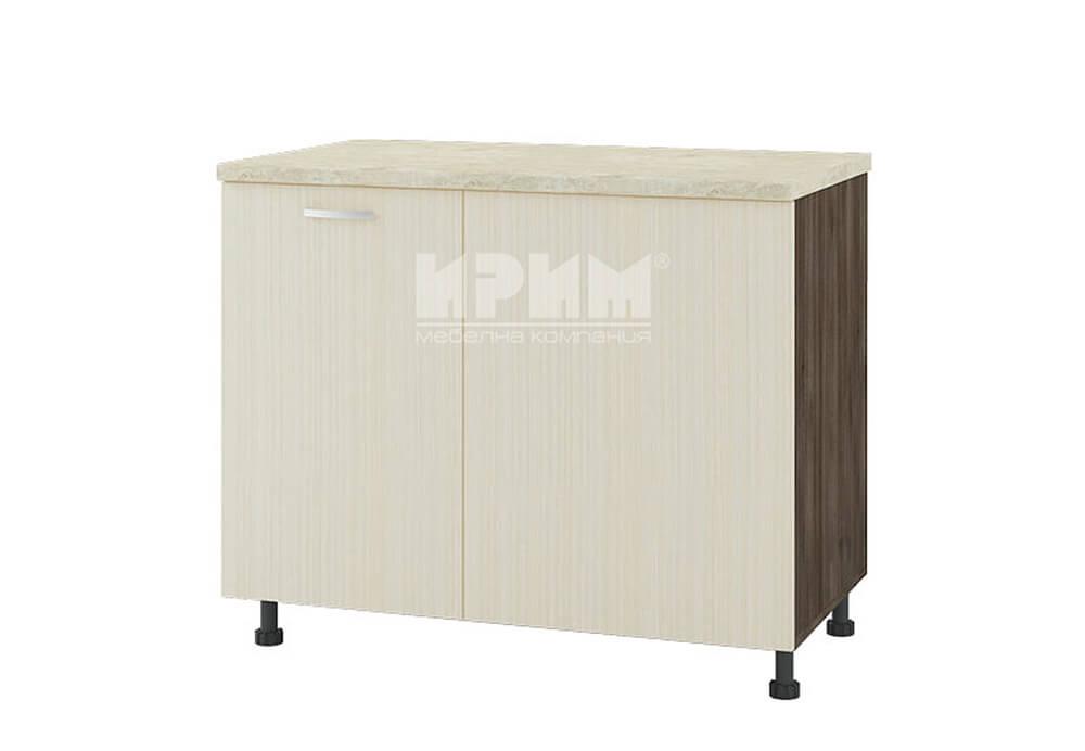 Долен кухненски шкаф за ъгъл с неотваряема част за мивка и кош за отпадъци D335