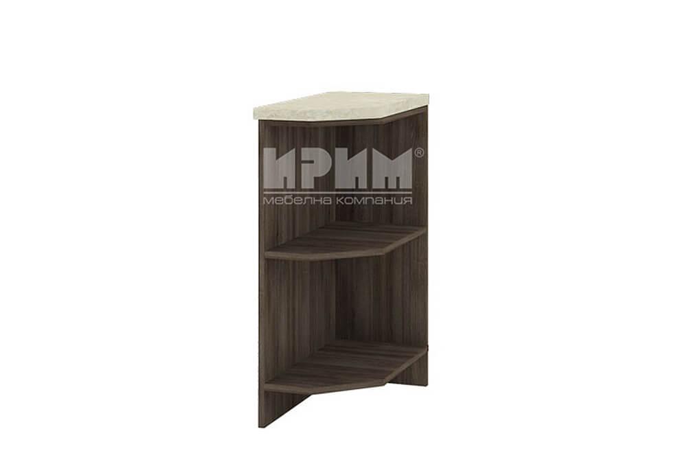 Краен ъглов кухненски шкаф етажерка с два скосени рафта D347