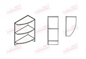 Краен ъглов кухненски шкаф етажерка с два заоблени рафта D348