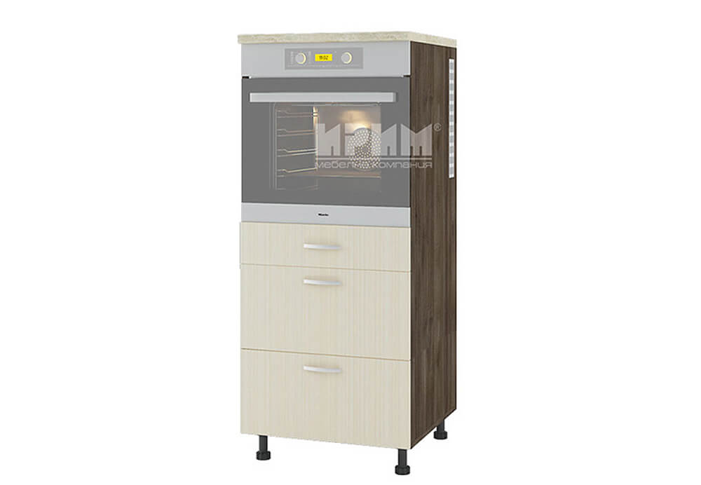Колонен кухненски шкаф за вграждане на фурна с три чекмеджета D354