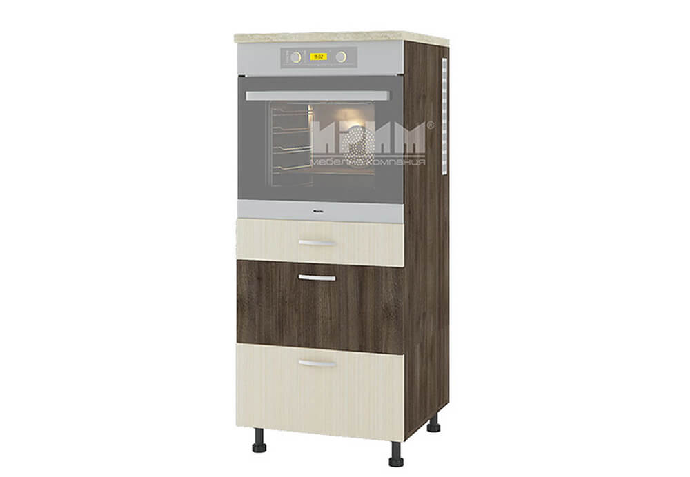 Колонен кухненски шкаф за вграждане на фурна с три чекмеджета D356