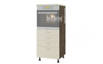 Колонен кухненски шкаф за вграждане на фурна с четири чекмеджета D357