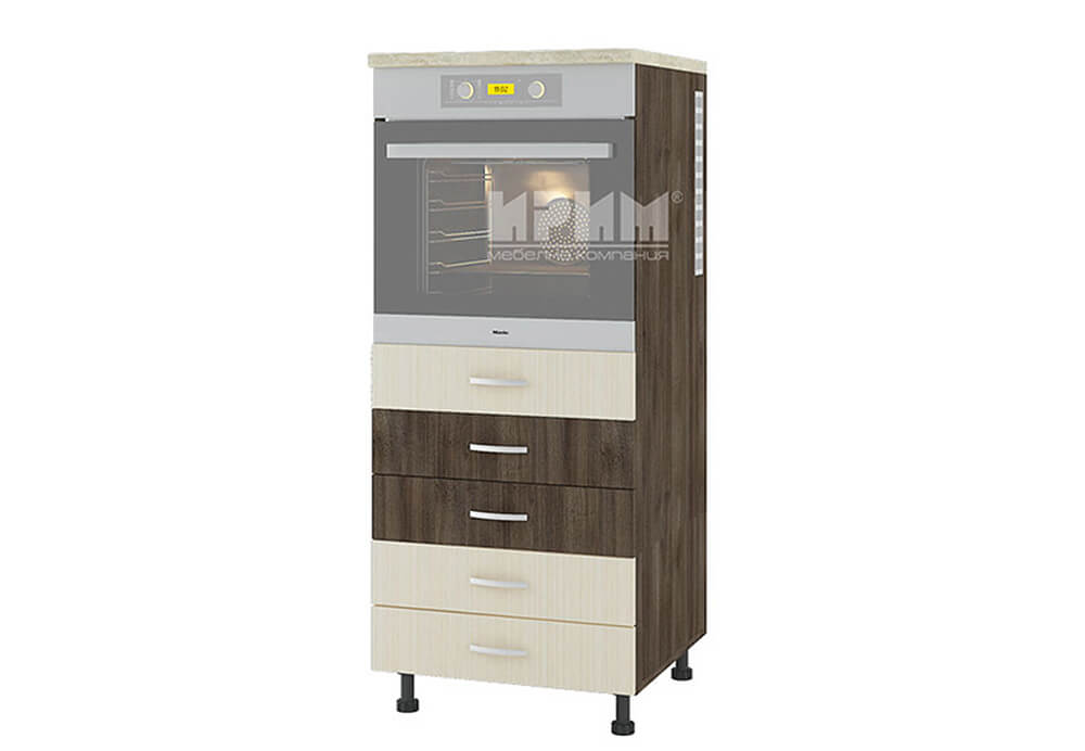 Колонен кухненски шкаф с пет чекмеджета за вграждане на фурна D362