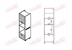 Колонен кухненски шкаф с две врати за вграждане на фурна и микровълнова печка D370