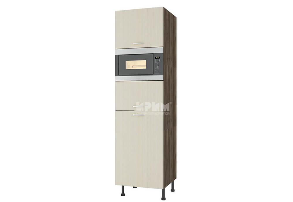 Колонен шкаф с три врати за вграждане на микровълнова печка и хладилник D373