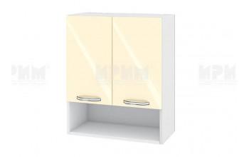 Горен кухненски шкаф с две врати и ниша - 60 см МДФ лице - БФ-Бежово гланц-05-7