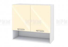 Горен кухненски шкаф с две врати и ниша - 80 см МДФ лице - БФ-Бежово гланц-05-8