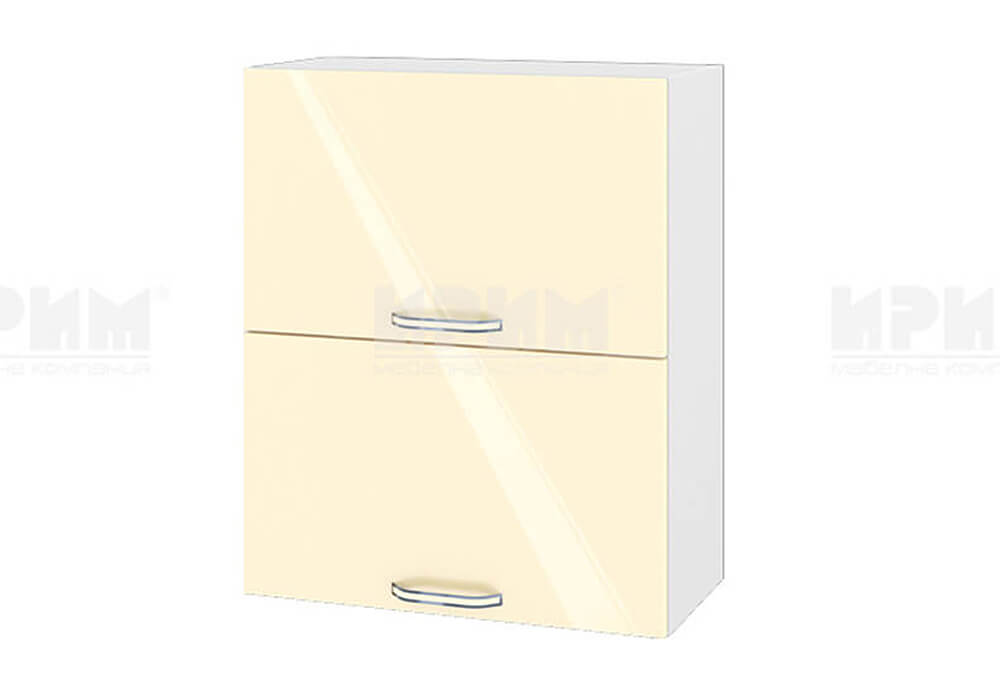 Горен кухненски шкаф с две повдигащи се врати - 60 см МДФ лице - БФ-Бежово гланц-05-11