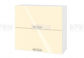 Горен кухненски шкаф с две повдигащи се врати - 80 см МДФ лице - БФ-Бежово гланц-05-12