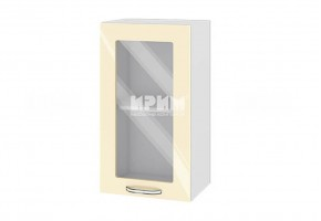 Горен кухненски шкаф с витрина - 40 см МДФ лице - БФ-Бежово гланц-05-202