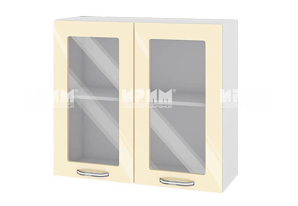 Горен кухненски шкаф с две витрини - 80 см МДФ лице - БФ-Бежово гланц-05-204