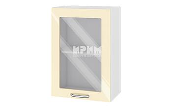 Горен кухненски шкаф с една витрина - 50 см МДФ лице - БФ-Бежово гланц-05-218