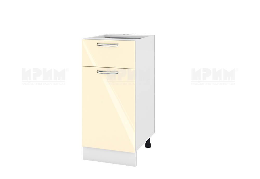 Долен кухненски шкаф с врата и чекмедже - 40 см МДФ лице - БФ-Бежово гланц-05-24