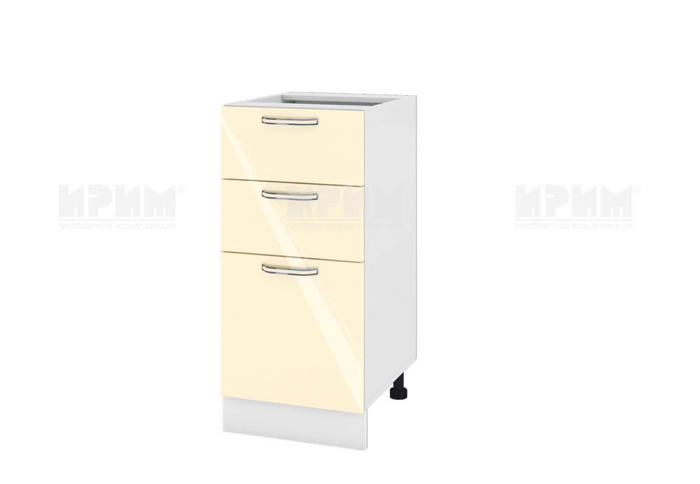 Долен кухненски шкаф с една врата и две чекмеджета - 40 см МДФ лице - БФ-Бежово гланц-05-27