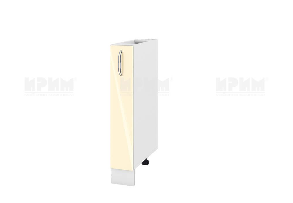 Кухненски шкаф с изтеглящ се маханизъм за бутилки МДФ лице - 15 см - БФ-Бежово гланц-05-41