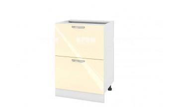 Долен кухненски шкаф с две дълбоки чекмеджета - 60 см МДФ лице - БФ-Бежово гланц-05-44