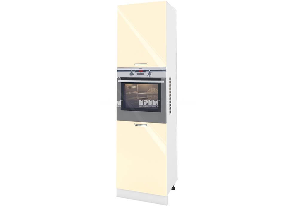 Колонен шкаф с четири врати за вграждане на фурна и микровълнова фурна - 60 см МДФ лице - БФ-Бежово гланц-05-48