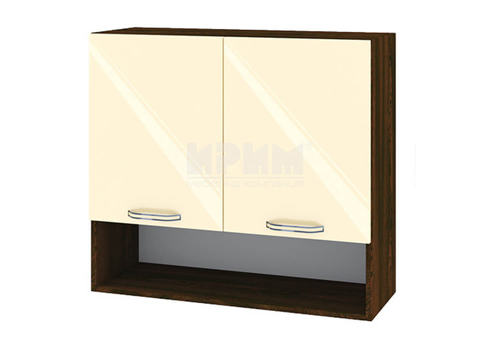 Горен кухненски шкаф с две врати и ниша - 80 см МДФ лице - ВФ-Бежово гланц-05-8