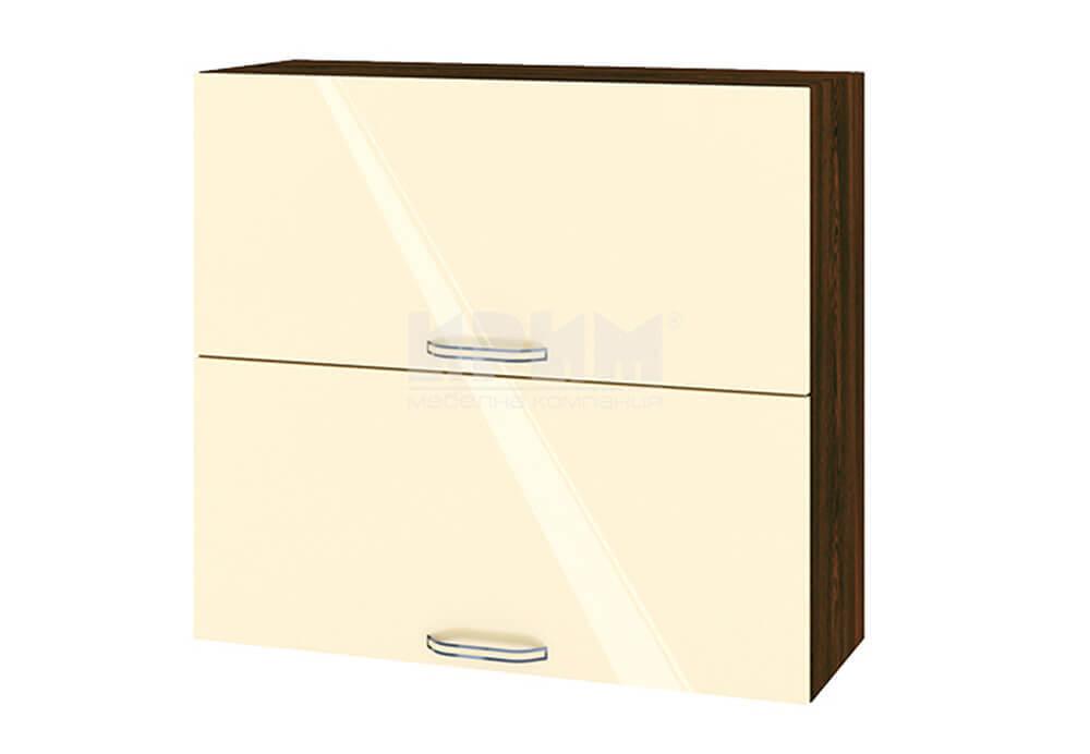 Горен кухненски шкаф с две повдигащи се врати - 80 см МДФ лице - ВФ-Бежово гланц-05-12