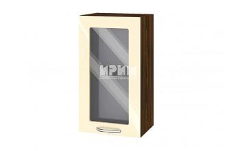 Горен кухненски шкаф с витрина - 40 см МДФ лице - ВФ-Бежово гланц-05-202