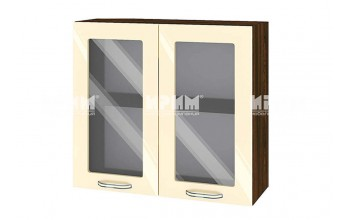Горен кухненски шкаф с две витрини - 80 см МДФ лице - ВФ-Бежово гланц-05-204