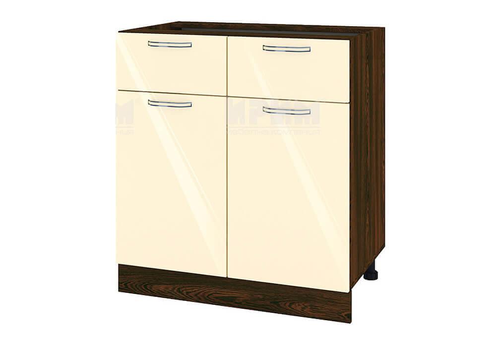 Долен кухненски шкаф с две врати и две чекмеджета - 80 см МДФ лице - ВФ-Бежово гланц-05-26