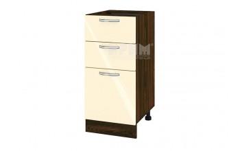 Долен кухненски шкаф с една врата и две чекмеджета - 40 см МДФ лице - ВФ-Бежово гланц-05-27